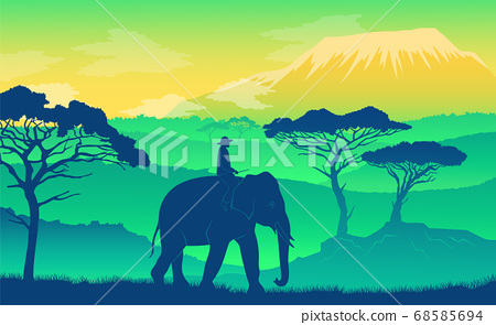 Elephant in the African savanna. Wild acacia, mountaines. Silhouettes of man riding an animal 68585694