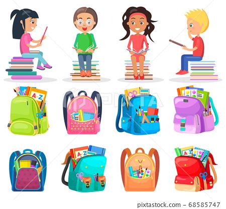 Pupil Reading Book, School Bag, Study Sign Vector 68585747