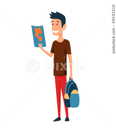 Tourist. Concept of an active lifestyle, tourism. A young man with map and bag in had is looking ahead and smile. Route planning. Vector illustration 68585810