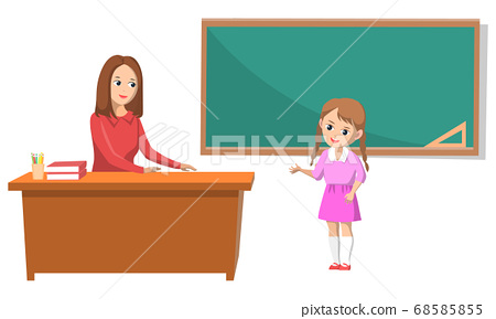 School Teacher and Pupil Answering Question Vector 68585855