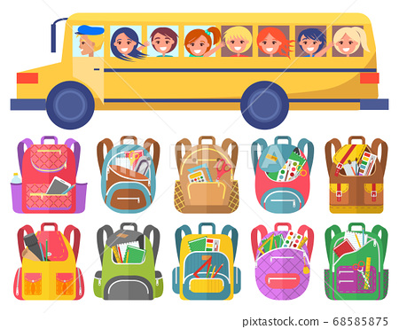 Children Ride on School Bus, Bags with Stationery 68585875