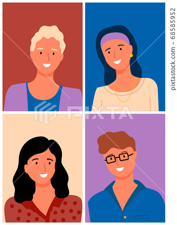 People Portrait View Vector Cartoon Man and Woman 68585952