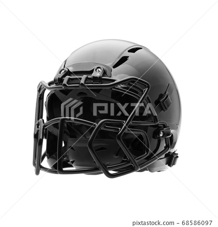 Football Helmet Isolated on a White Background. Black American Football Helmet. Protective Equipment. Modern Football Headgear 68586097