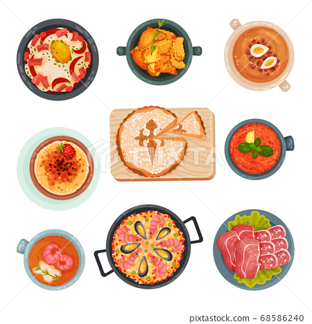 Spanish Cuisine with Rice and Meat Dishes Served on Plates Vector Set 68586240