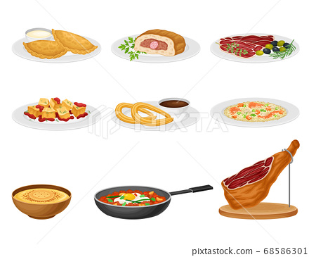 Spanish Cuisine with Rice and Meat Dishes Served on Plates Vector Set 68586301