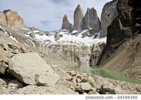 Torres del Paine and lagoon 68586360