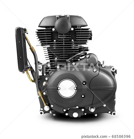 Modern Motorcycle Engine Isolated on White Background. Internal Combustion Engine. Black Long Stroke Engine 68586396