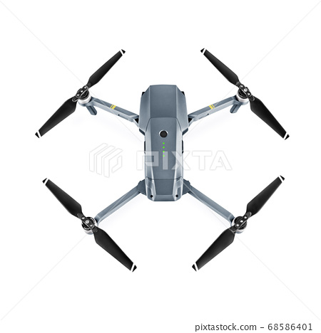 Headless Quadcopter Drone with Action Camera Isolated on White Background. Top View of Aerial Quad Copter with Digital Camera. Flying Remote Control Air Drone 68586401
