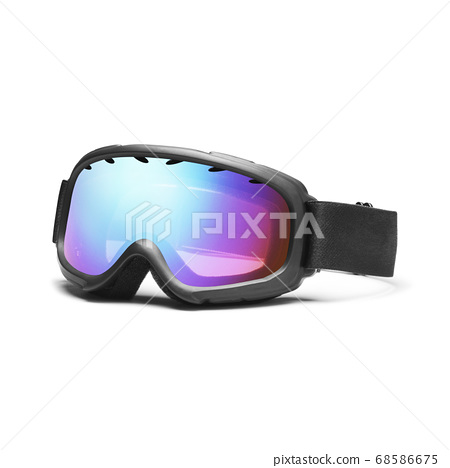 Ski Goggles Isolated on White Background. Side View of Blue Ski Glasses. Modern Snowboard Goggles. Snowboarding Protective Gear 68586675