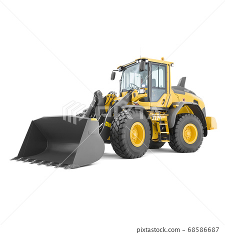 Wheel Loader Isolated on White. Yellow Front Loader. Loading Shovel. Side View of Heavy Equipment Machine. Industrial Vehicle. Pneumatic Truck. Tractor Front Loader. Manufacturing Equipment 68586687