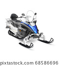 Snowmobile Isolated on White. Snowmachine with Four-Stroke Internal Combustion Engine. Snowmobiling Extreme Sport. Two-Person Tracked Vehicle. All-Terrain Vehicle. Modern Snow-Vehicle with Front Skis 68586696