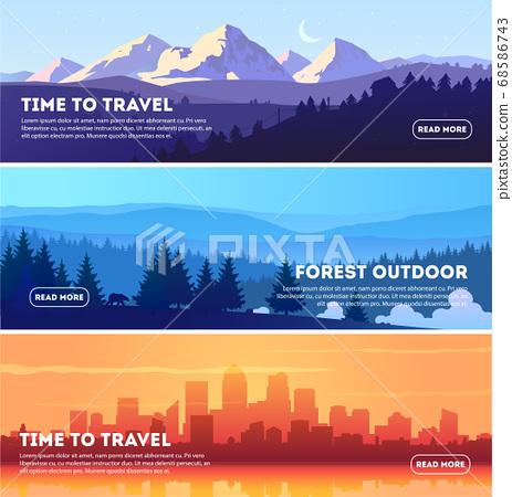 Vector beautiful landscape banner set. Horizontal banner concept for web design development, web page 68586743