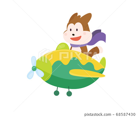 Cute dog flying an airplane with scarf fluttering. Funny pilot flying on planes. Cartoon vector illustration isolated on a white background 68587430