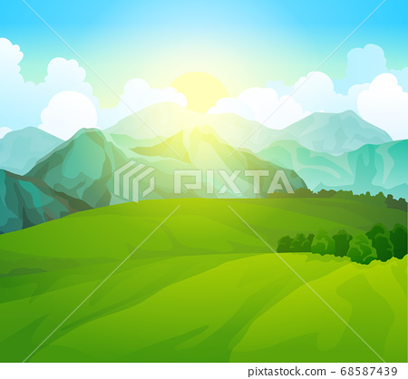 Landscape green meadows with mountains. Summer valley view. Landscape hill field. Wild nature grass and forest in countryside. Summer vector land with sunrise 68587439