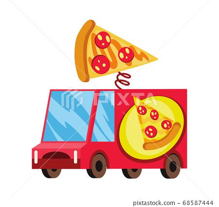 Street fast food. Mobile food car. Pizza fast food street shop. Hot dog street cart, food market 68587444