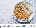 Grilled Fish Fillet with BBQ Vegetables. 68587872