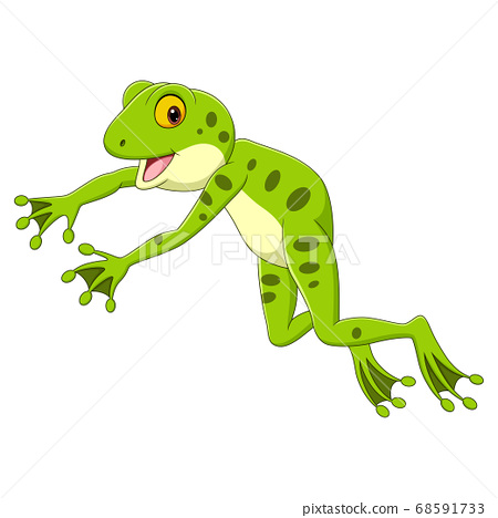Cartoon funny frog leaping on white background 68591733