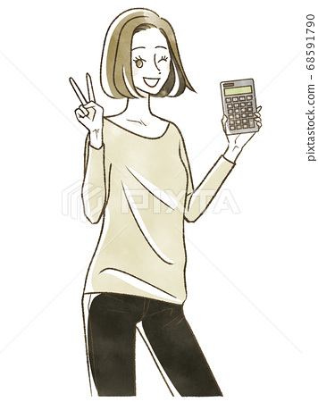 女人手裡拿著一個計算器 68591790