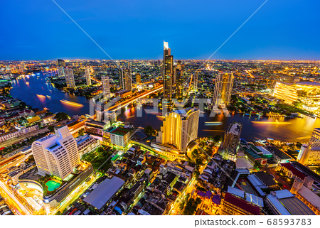 Bangkok city with Chao Phraya River at night, 68593783