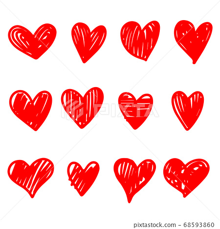 collection set of doodle hearts isolated on white 68593860