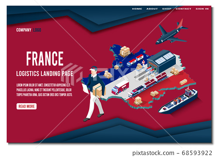Modern isometric concept of France Logistics Landing page with Global Logistics, Warehouse, Sea Freight.  Easy to edit and customize. Vector illustration 68593922