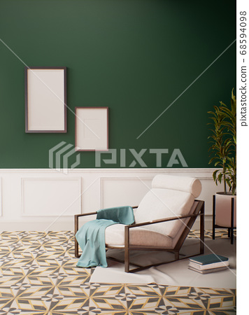 Room Interior design with Green Wall and Pattern floor 68594098
