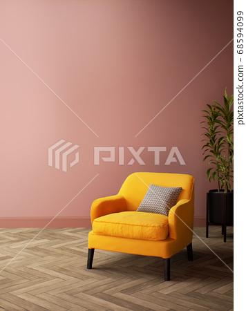 Pink Room Interior design with Yellow Sofa 68594099