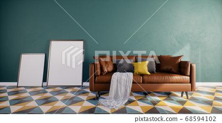 Modern Retro Room Interior design with Leather Sofa 68594102