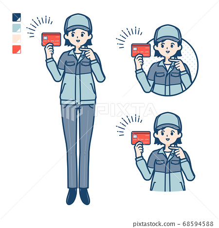 simple delivery woman_Credit-card 68594588