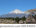 Mt. Fuji with cherry blossoms and snow makeup 68594665