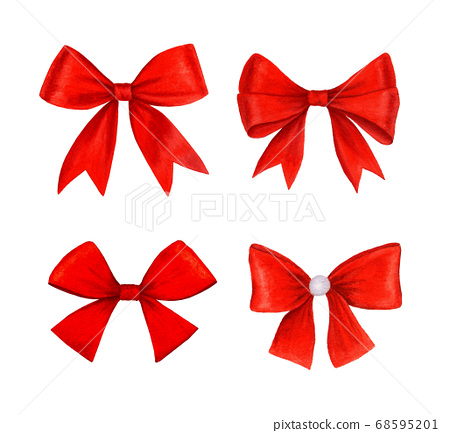 Vintage red bow collection realistic watercolor illustration 68595201