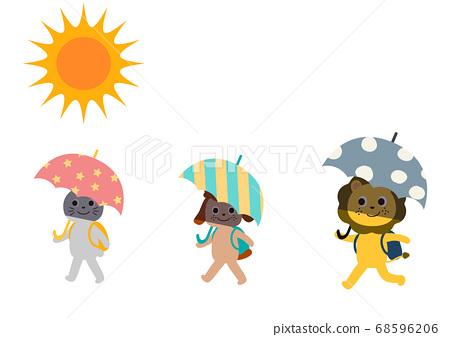 帶著雨傘上下學:預防中暑的措施,預防社會距離的措施 68596206