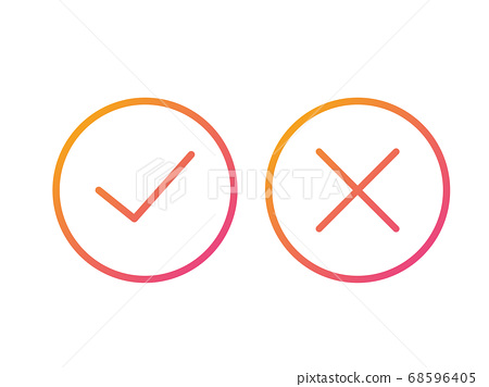 The isolated gradient orange to pink vector colorful check and cross thin line icon 68596405