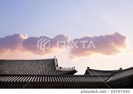 한국 전통 백그라운드, 한국의 랜드마크, 전통 가옥과 건축물 68597490