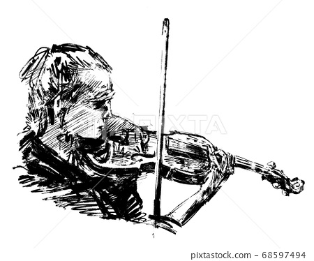 Drawing of the classical musician plays violin hand draw  68597494