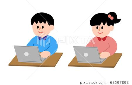 男孩和女孩在計算機上工作(簡單的顏色) 68597898