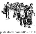 Drawing of the local people are walking at market in India hand draw  68598118
