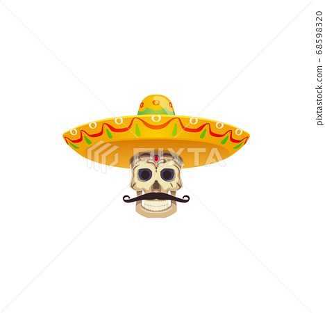 Moustache and sombrero hat mexican fiesta objects 68598320