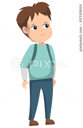 Schoolboy Standing in Uniform After School Alone 68598664