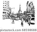 Drawing of the people walking on street around pagoda in Yangon hand draw  68598688