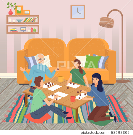 Family spend leisure time together at home, happy people playing bingo lotto game at table, hobby 68598803
