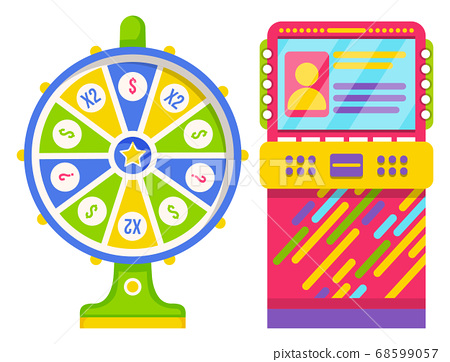 Wheel of Fortune and Colorful Slot Machine Vector 68599057
