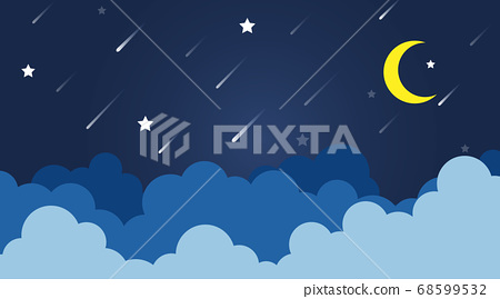 Clouds landscape with stars and yellow moon starry 68599532