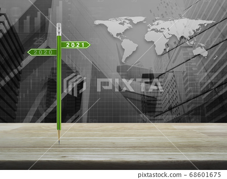 Business happy new year 2021 planning concept, Elements of this image furnished by NASA 68601675