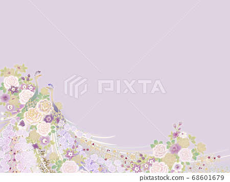 孔雀和小花模板 68601679