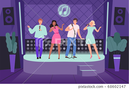 Karaoke club. Performance concert adult people group of singers on music stage vector nightclub background illustrations 68602147