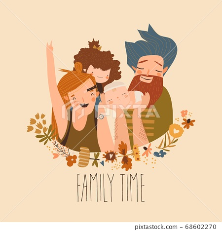Happy family. Father, mother, son and daughter. Parents are keeping on the hands of their children 68602270
