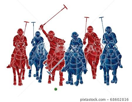 Polo Horses players sport cartoon graphic vector 68602816