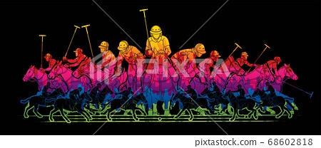Polo Horses players sport cartoon graphic vector 68602818