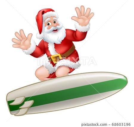 Santa Claus Christmas Surfing Surf Board Cartoon 68603196